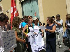 Daniela Campoli alla manifestazione degli insegnanti